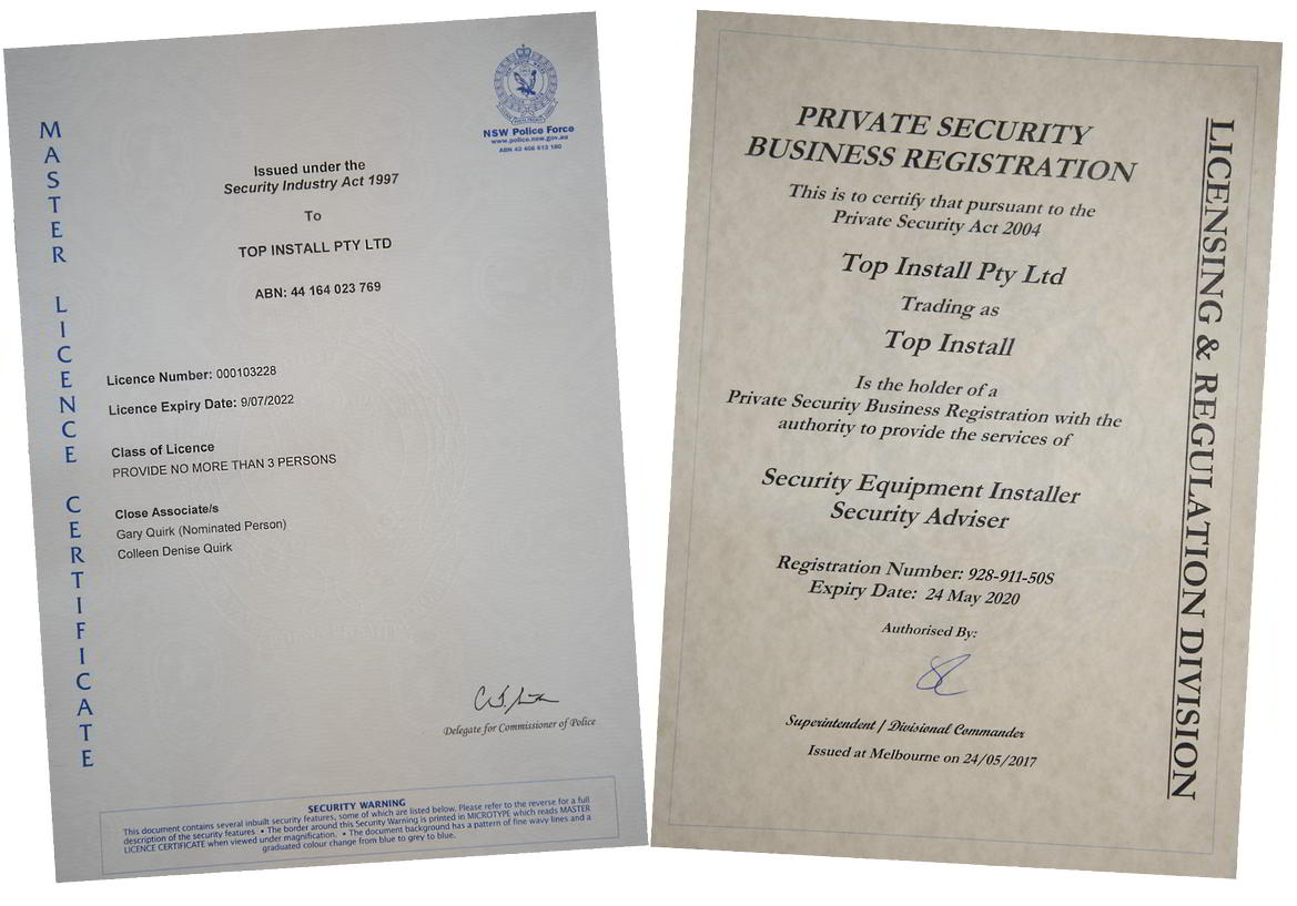 Security Registration and Master Licence